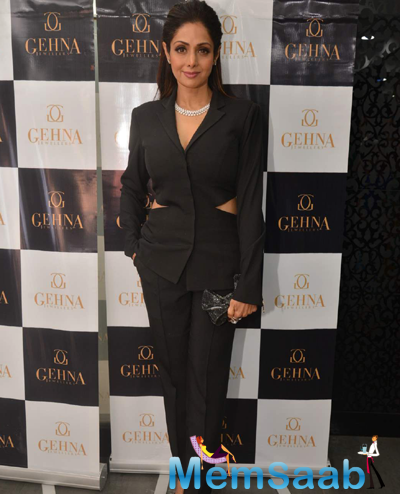 Sridevi Stunning Diva Look During Shaina Nc Collection Launch For Gehna