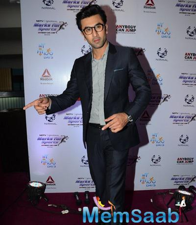 Ranbir Kapoor Strikes A Pose At NDTV-Nirmal Lifestyle Marks For Sports Campaign