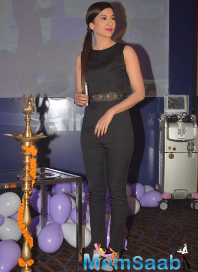 Gauhar Khan Lights The Candle During The Launch Of Laser Skin Clinic