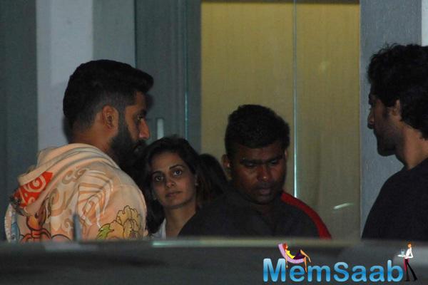 Abhishek Watches Piku With Naina Bachchan And Kunal Kapoor