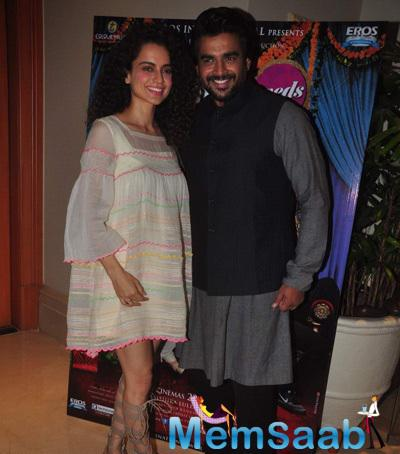 Kangana And R Madhavan During The Press Conference Of Film Tanu Weds Manu Returns
