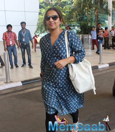 Vidya Balan Simple Look At Mumbai Domestic Airport