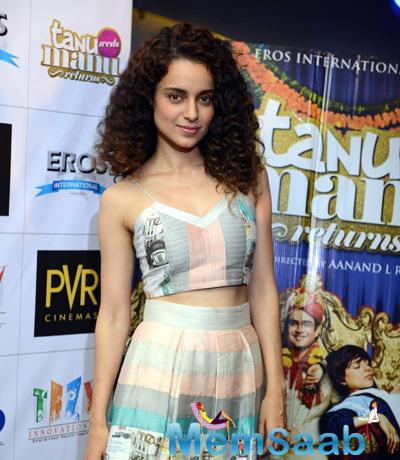 Hottie Kangana Ranaut At Delhi For Tanu Weds Manu Returns Promotion