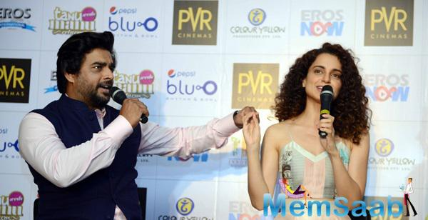 R. Madhavan And Kangana Fun During Promotion Of The Tanu Weds Manu Returns