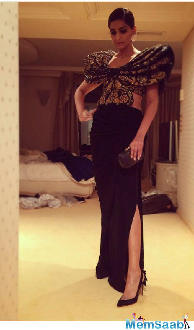 Sonam In Abu Jani Sandeep Khosla Butterfly Top With A Draped Skirt At Chopard Party