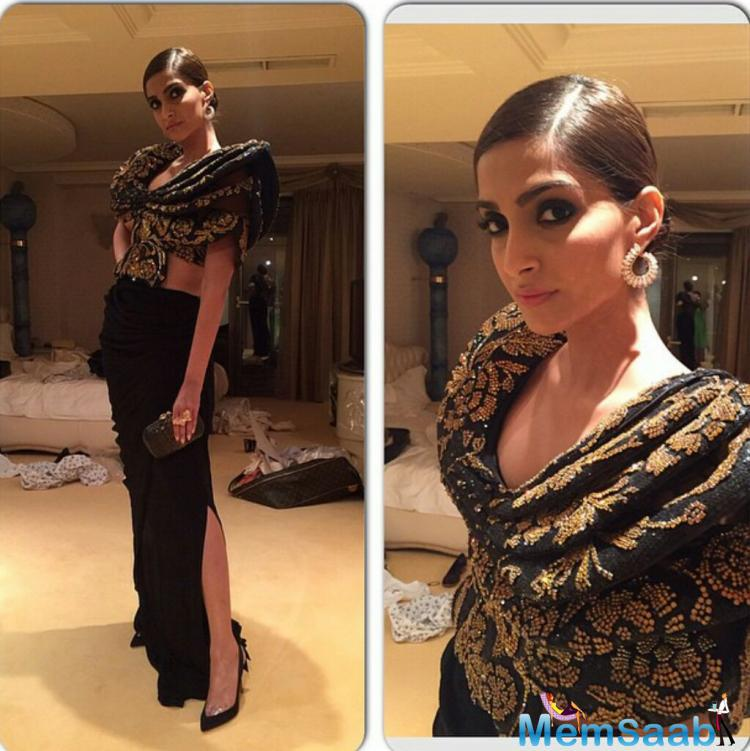 Sonam Kapoor Strikes A Sexy And Hot Pose At Cannes Film Festival Chopard Party