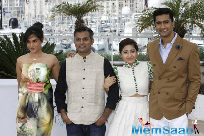 Richa Director Neeraj, Shweya And Vicky Pose For Photographers During A Photo Call For The Film 'Masaan' At Cannes