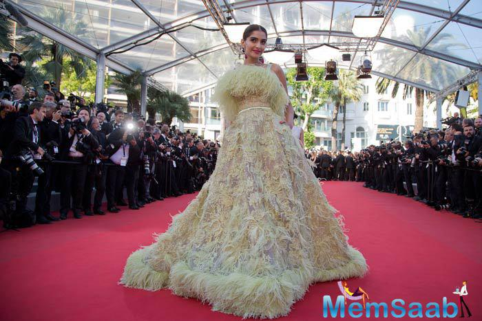 Sonam Kapoor Made Heads Turn At The Red Carpet In A Yellow Feathered Elie Saab Gown