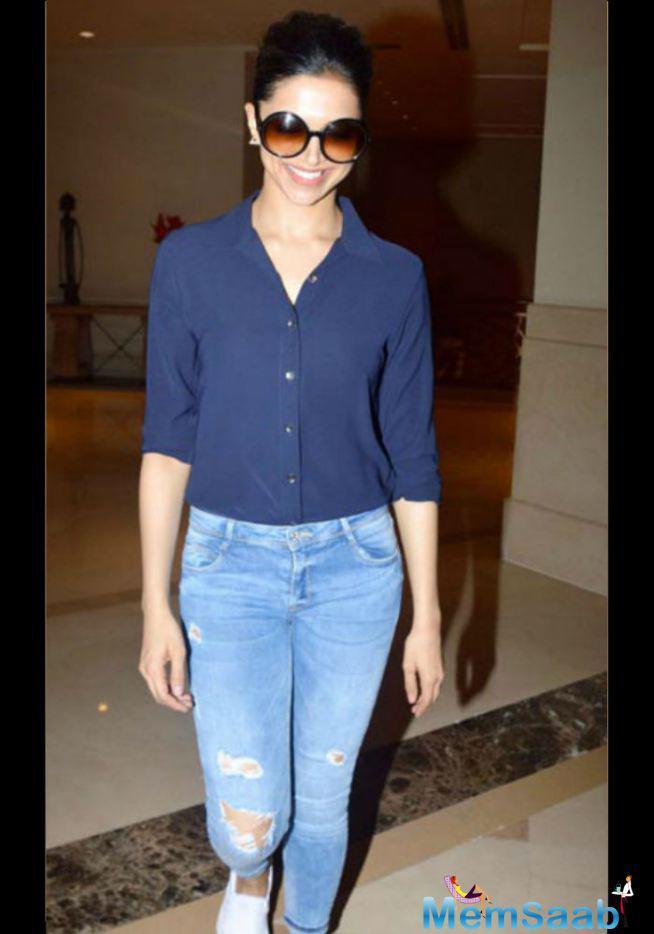 Deepika Padukone Bun Also Works For A Casual Denim And Shirt Look