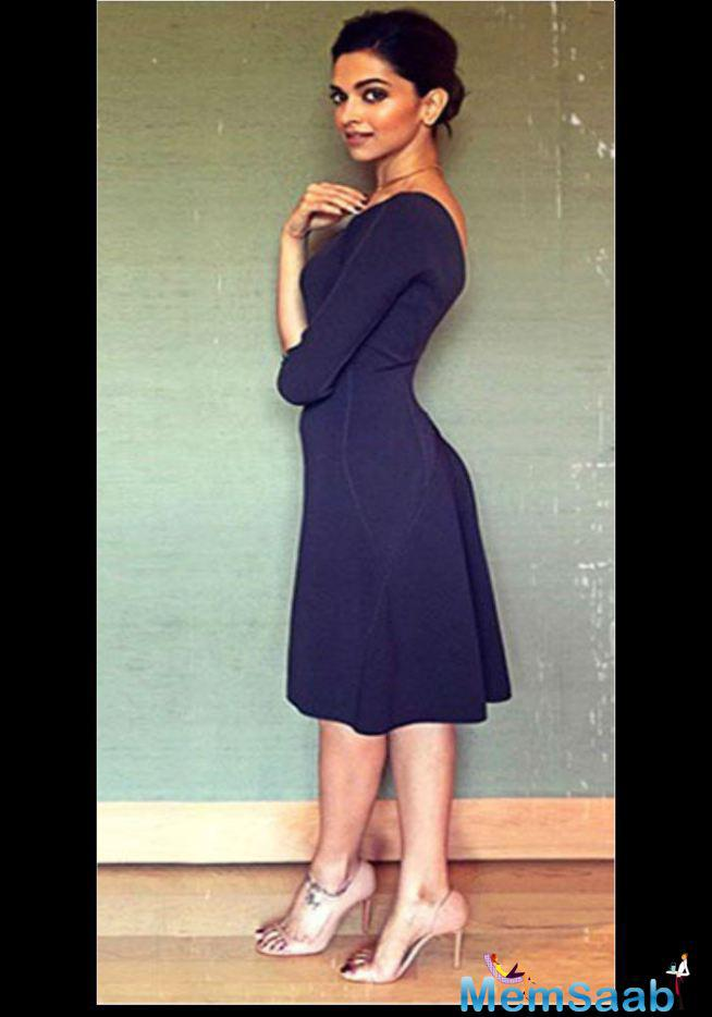 It Works Beautifully With This Dark Blue Dress That Deepika Wore To An Event