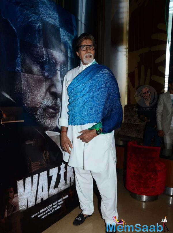 Amitabh Bachchan Cool Look At The Trailer Launch Of Upcoming Movie Wazir
