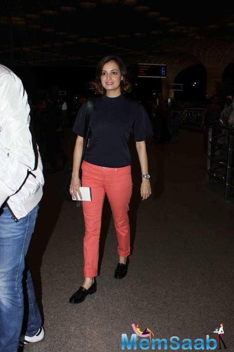 Dia Mirza With Casual Outfit Spotted At Mumbai Airport