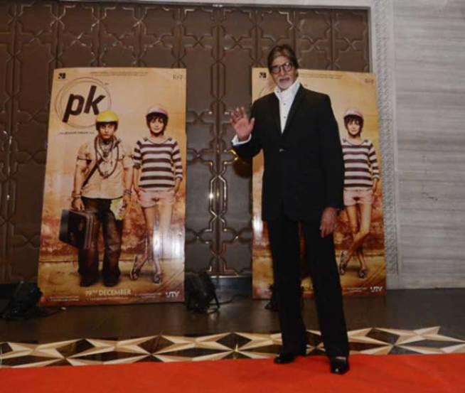 Amitabh Also Took To His Blog To Share A Few Pictures From The Grand Bash. Seen Here Is Him Posing In Front Of The 'PK' Posters