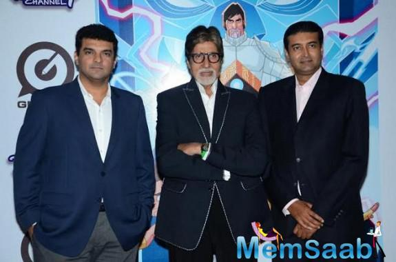 Siddharth Roy Kapur,Amitabh Bachchan And Sharad Devarajan Posed During The Launch Of New Superhero Series Astra Force