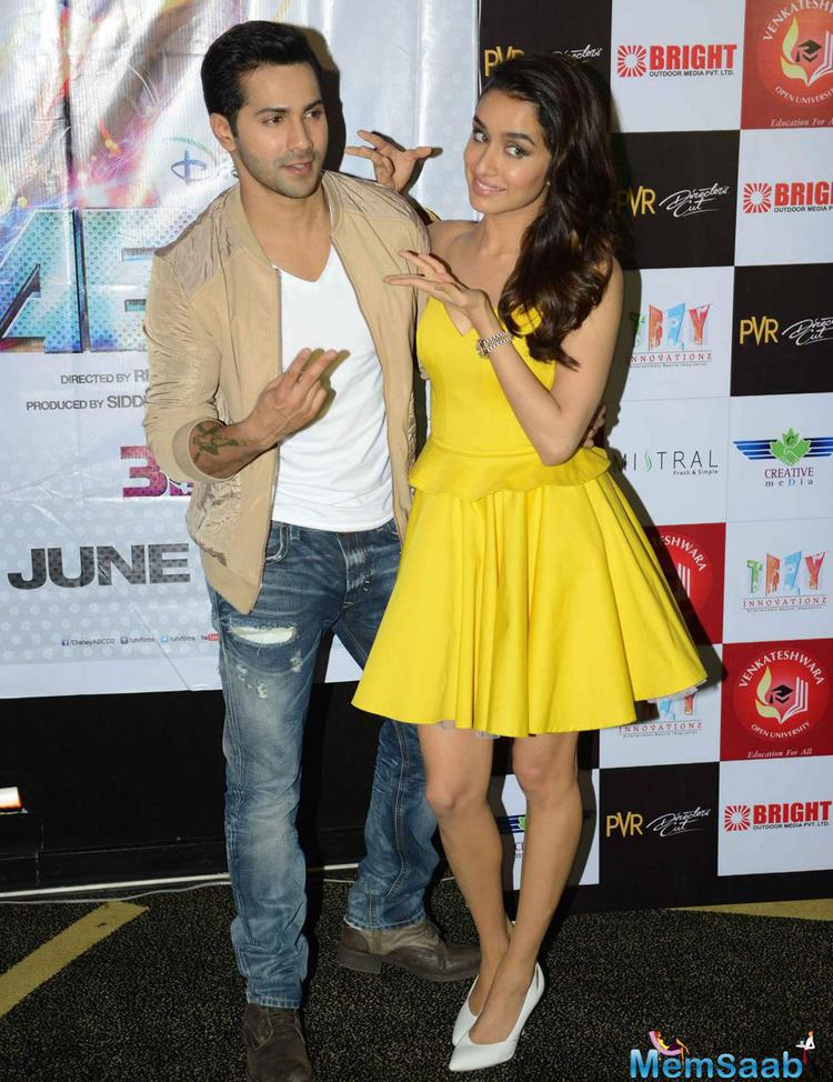 Varun Dhawan And Shraddha Kapoor Posed During The Promotion Of ABCD 2