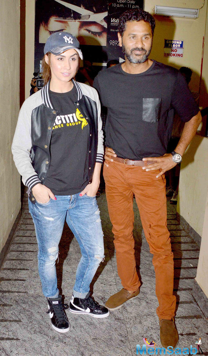 Lauren Gottlieb And Prabhu Deva Strikes A Pose During The Screening Of ABCD 2 Movie