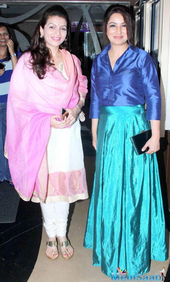 Prachi Shah And Tisca Chopra Smiling Pose During The Screening Of ABCD 2 Movie