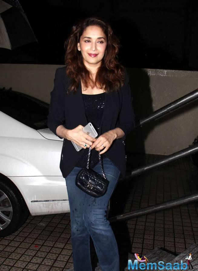 Stunning Madhuri Dixit Also Seen At The Screening Of ABCD 2