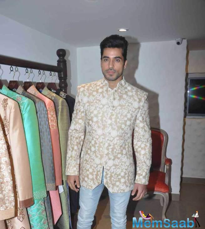 Gautam Gulati Looks Dashing During A The Store Of ANJ Couture At Bandra