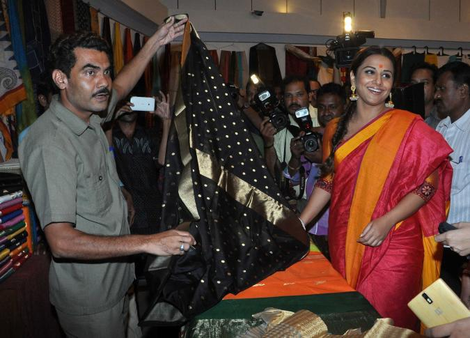 Vidya Balan Viewing The Handloom Saree At MP Tourism And Handicrafts Exhibition