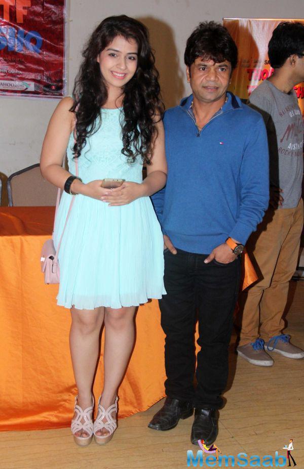 Neha Pawar Posed With Rajpal Yadav During The Promo Launch Of Thoda Lutf Thoda Ishq