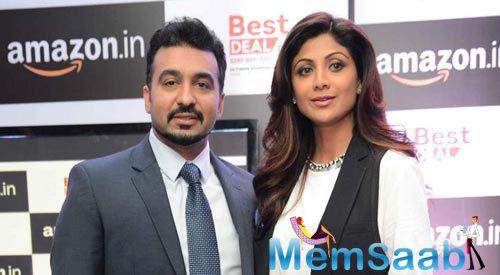 Raj Kundra Posed With Wife Shilpa Shetty At Amazon.In