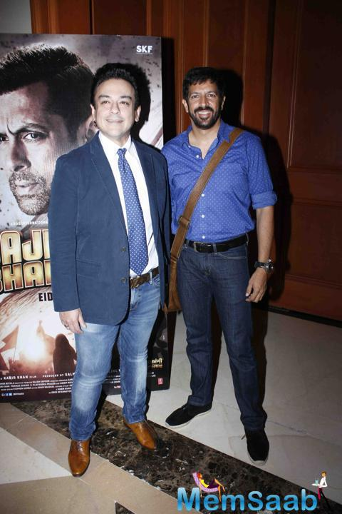 Adnan Sami And Kabir Khan Posed During The Song Launch Of Bajrangi Bhaijaan