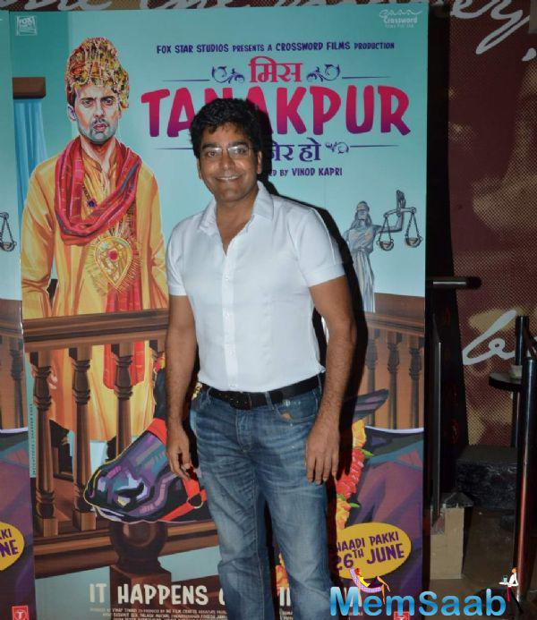 Ashutosh Rana Flashes A Smile During The Miss Tanakpur Movie Premiere Event
