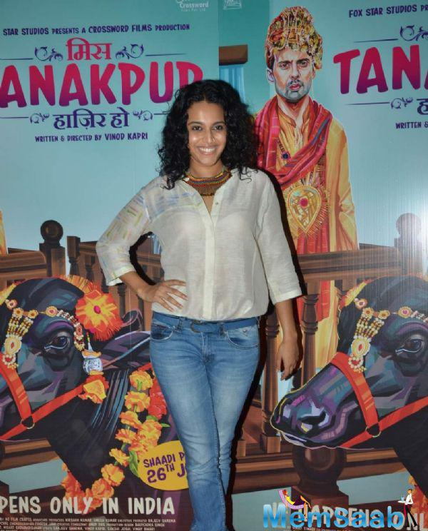 Swara Bhaskar Smiling Look During The Miss Tanakpur Movie Premiere Event