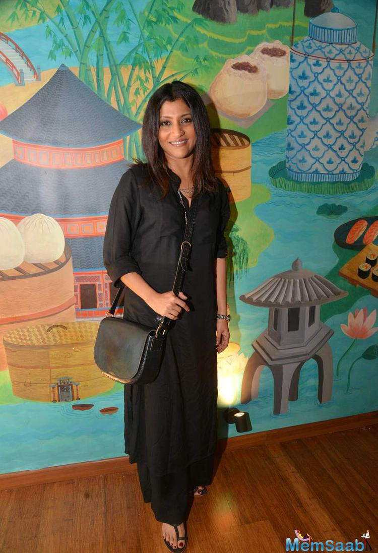 Konkona Sen Sharma In Black Dress Cool Look During Fatty Bow Restaurant Launch