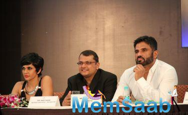 Mandira Bedi And Sunil Shetty At The Launch Of Road Safety Campaign Press Meet