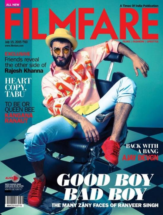 Actor Ranveer Singh On The Cover Page Of Filmfare Magazine July 2015