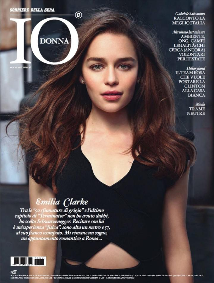 Emilia Clarke On Cover Page Of Io Donna Magazine July 2015 Issue