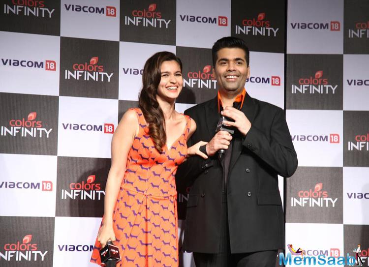 Alia Bhatt And Karan Johar Smiling Pose During The Launch Of Colors English Channel Colors Infinity