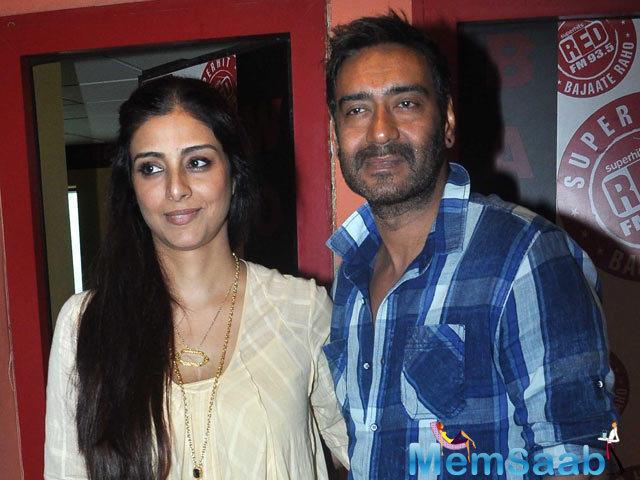 Tabu And Ajay Devgan Photographed In Mumbai During The Promotion Of Drishyam