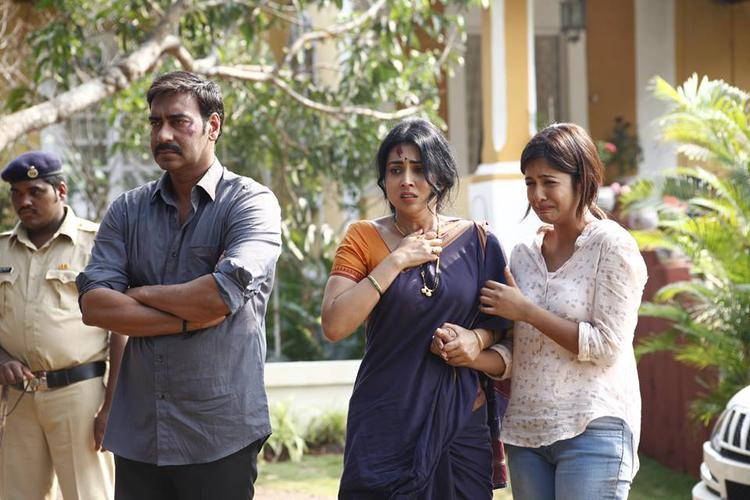 Ajay Devgan,Shriya Saran And Ishita Dutta Still From Drishyam Movie