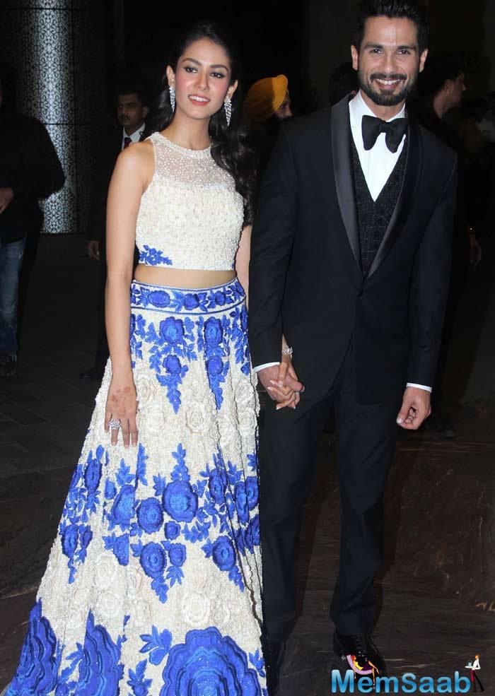 Shahid And Mira Enter Hand-In-Hand At Wedding Reception