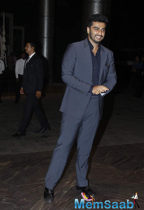Arjun Kapoor In Grey Suit At Shahid Kapoor And Mira Rajput Wedding Reception