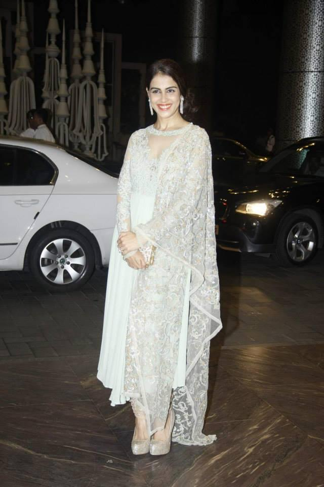 Genelia D'Souza In Shyamal And Bhumika Creation At Shahid Kapoor And Mira Rajput Wedding Reception