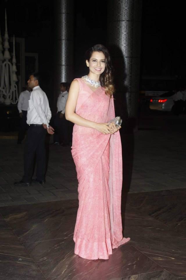 Kangana Ranaut Looked Stunning In A Rose Pink Saree At Shahid Kapoor And Mira Rajput Wedding Reception
