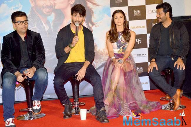 Karan Johar,Shahid Kapoor,Alia Bhatt And Vikas Bahl Interact With Media At The Trailer Launch Of Shaandaar