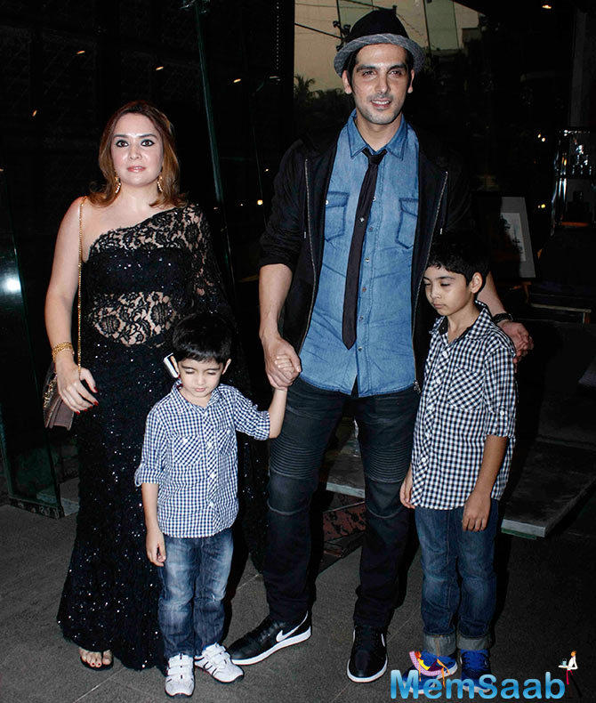 Actor Zayed Khan Accompanied By His Wife And Sons During His Mom Zarine Khan Book Launch Event