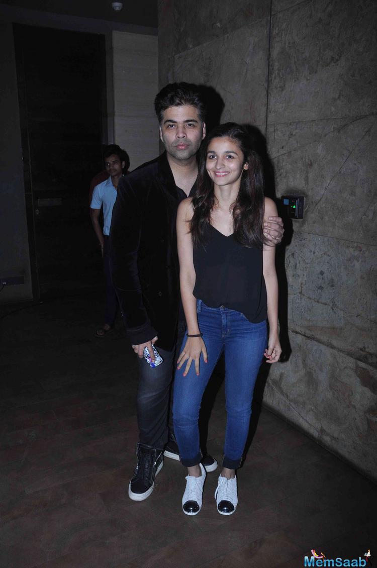 Karan Johar And Alia Bhatt Cozy Look At The Special Screening Of Brothers Movie