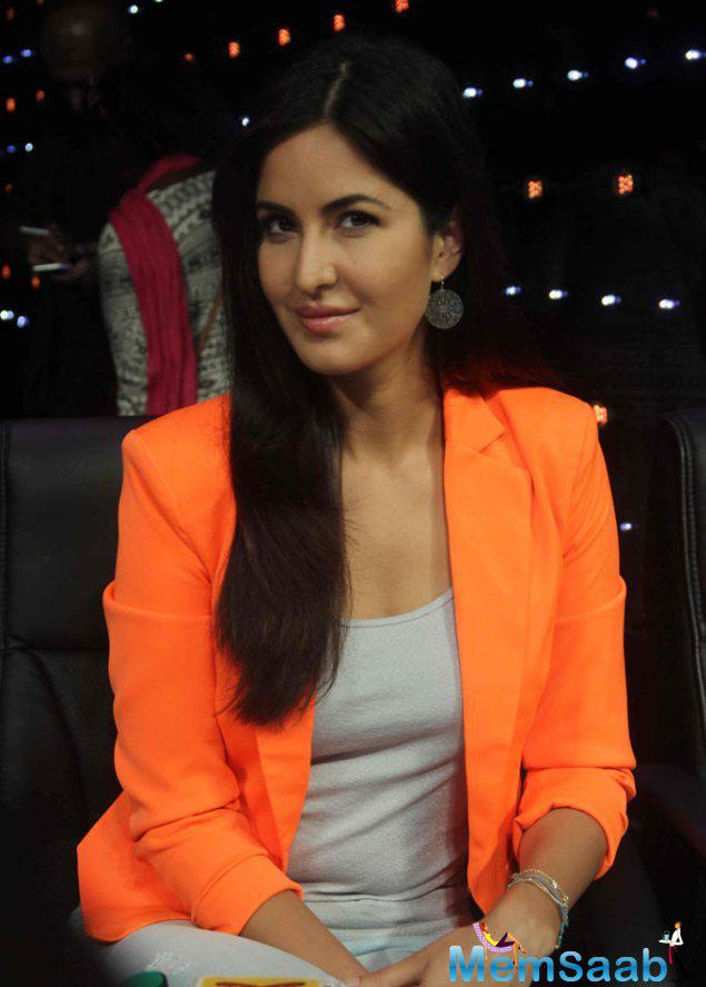 Katrina Kaif Looked Vibrant In A Bright Orange Blazer With A Grey Tank Top And Light Coloured Jeans