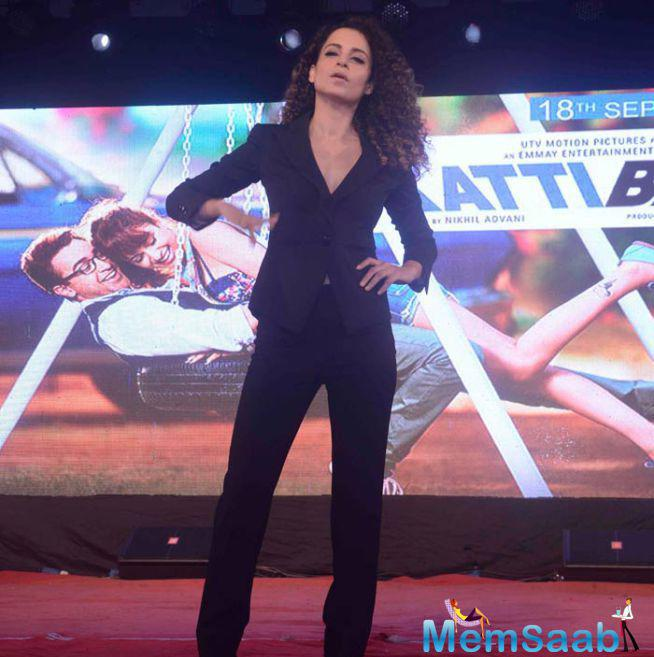 Kangana Was Smart And Fab In A Black Emporio Armani Suit Worn With High Heels