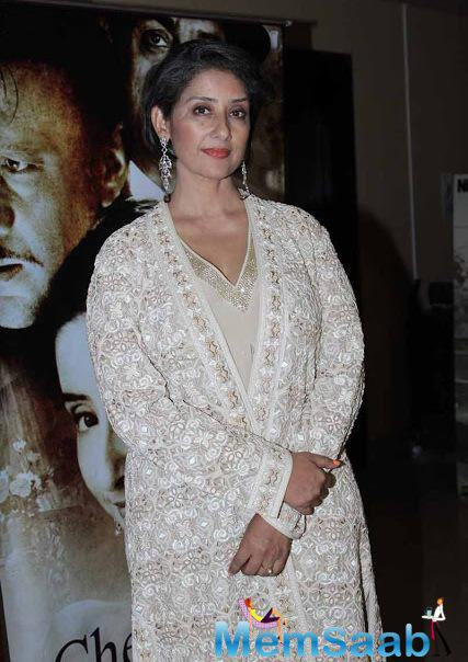 Manisha Koirala Posed For Camera During The Premier Of Chehere Movie
