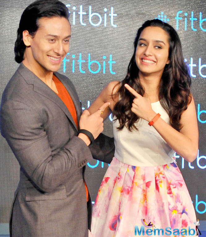Tiger Shroff And Shraddha Kapoor Cool Pose During The Launch Of Fitness Brand Fitbit