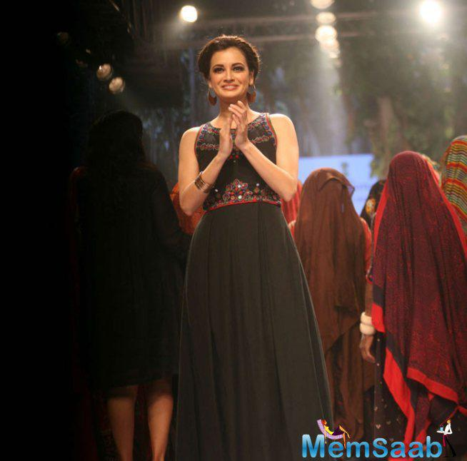 Dia Looked Lovely On The Ramp In A Black Maxi Dress With Embroidered Mirror Work On The Top Part.