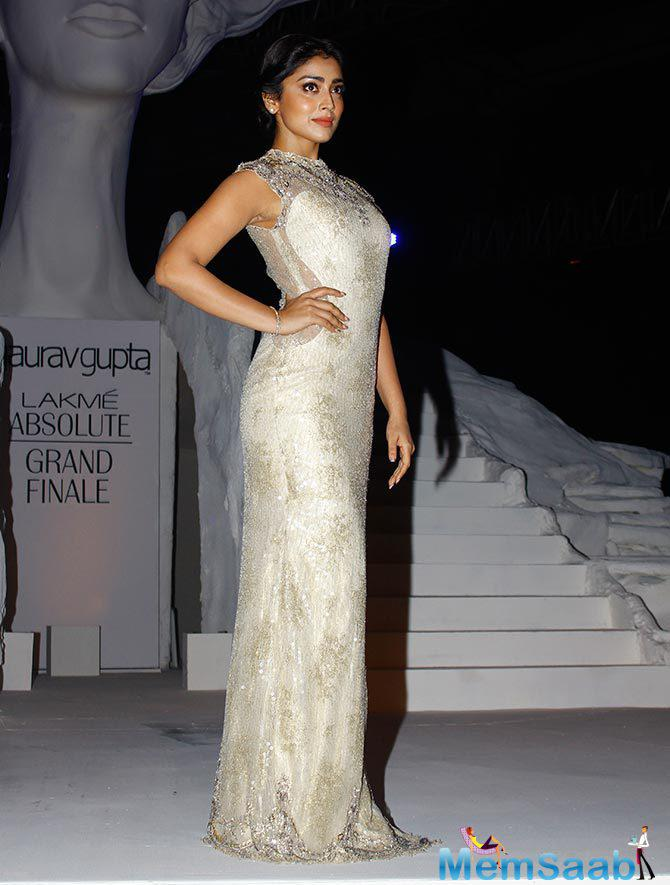 Shriya Saran Looked Stunning In A White And Gold Full Length Dress