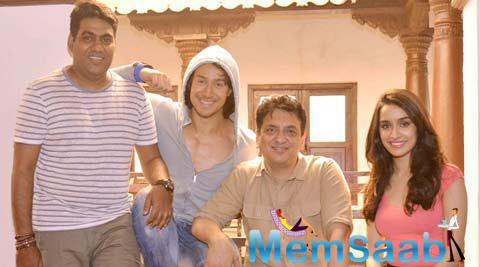 Shraddha And Tiger Pose Their Producer And Director On The Sets Of Bhaagi